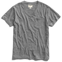 Pocket V-Neck T-Shirt in Dark Grey