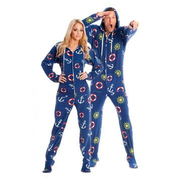 Nautical Adult Onesuit Pajamas