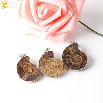 CSJA Natural Stone Ammonite Fossils Seashell Snail Pendants Ocean Reliquiae Conch Animal Necklaces Statement Men Jewellery E252