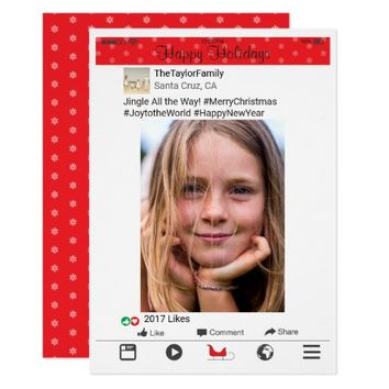 Facebook Photo Red Holiday Christmas Card