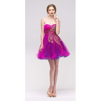 CLEARANCE - Fuchsia Embellished Bodice Strapless Homecoming Dress Tulle Short (Size M, L)