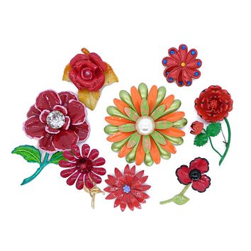 Shades of Red Enamel Flower Lot, 8 pins, Flower Brooches