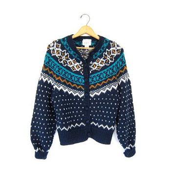 Fair Isle Button Up Sweater Blue Chunky Knit Cardigan Sweater Handwoven Raglan Boho Preppy Cottage Winter Snowflake Vintage Small