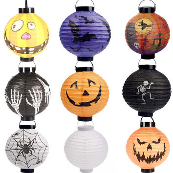 Halloween Party Supplies paper lantern LED Pumpkin Light Hanging Lantern Lamp Halloween Props Outdoor Party Supplies