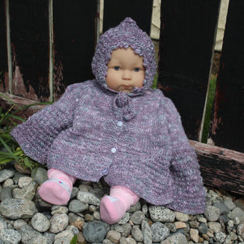 Baby Toddler Size Cardigan Sweater Jacket with bonnet handmade, Baby Cardigan, Ready to ship