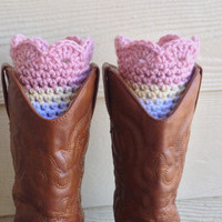 Crochet Boot Cuff, Pink White and Cream, Scalloped Boot Cuff