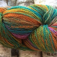 Hand Dyed Natural Wool Yarn, Hand Dyed 2 Ply Wool Art Yarn, Multi-coloured Hand Dyed Wool, Natural Sheep Wool, Crochet, Knitting, Textile