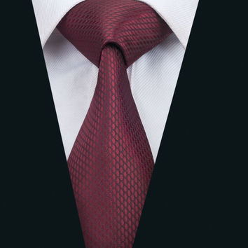New Arrival Fashion Men`s Tie Dark Red Novelty Neck Tie Silk Jacquard Ties For Men Business Wedding Party