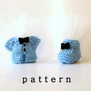 Little Shoe and Jacket Knitting Pattern, Keepsake party favor, baby shower, fridge magnet- Instant Download PDF