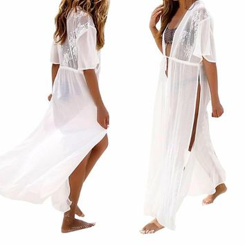 Deep V Neck White with Lace Chiffon Cover Up/Duster Kimono