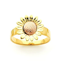 Sunflower ring, Gold Sunflower, Flower ring, Gold Flower, Sunflower, Sunflower Jewelry