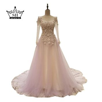 2017 Sexy Sheer Long Sleeve Backless Wedding Dresses Real Picture Light Purple Handmade Flower Bridal Gown Vestido De Noiva