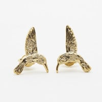 Humming Bird Gold Stud Earrings