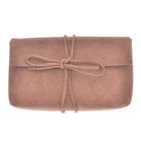 Faded Camel Rope Bow Clutch Purse