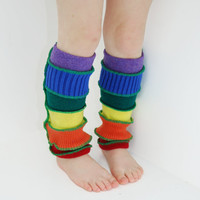 Leg Warmers for Toddlers in Rainbow - Recycled Sweaters