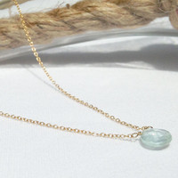 Aquamarine Necklace - March Birthstone - Simple Gemstone Necklace - Gold Aquamarine Necklace - 14k Gold Filled - Dainty Necklace - Layering