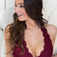 Love On the Weekend Lace Halter Bralette (Burgundy)