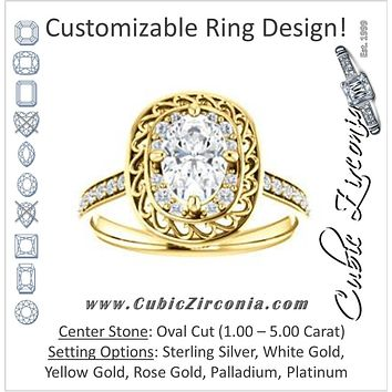 Cubic Zirconia Engagement Ring- The Ariané Contessa (Customizable Cathedral-style Oval Cut featuring Cluster Accented Filigree Setting & Pavé Band)