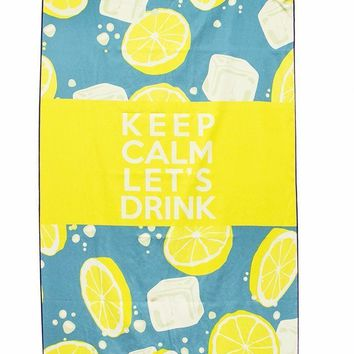 KEEP CALM LET'S DRINK WITH WATER-RESISTANT POCKET- YELLOW