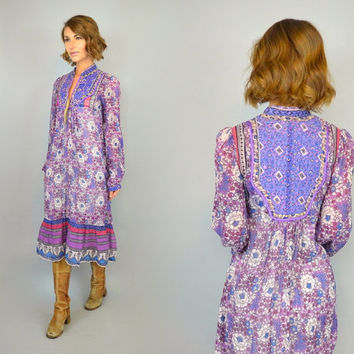 vtg 70s ikat + floral INDIAN COTTON boho gypsy ethnic goddess gauze sheer maxi DRESS, extra small-small