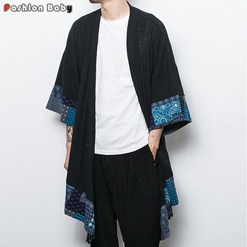 Chinese Style Flower Cotton Linen Trench Cloak Men's Fashion Long Cardigan Coat Loose Geometry Cape 2017 Autumn New