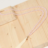 Long Beaded Pink Crystal Necklace : Ivory Tassle