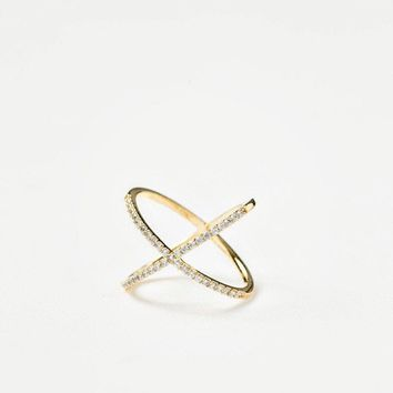 Camila Gold Crystal Crossover Ring