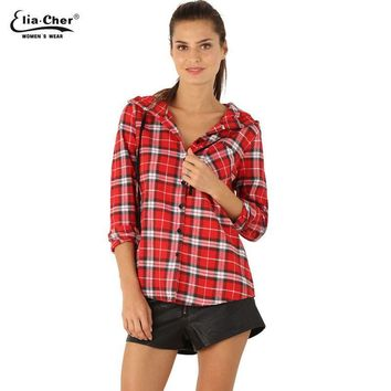 Blouse Shirt Women Summer Hooded Plaid Blouse Tops Plus Size Women Clothing Lady Shirts Tops