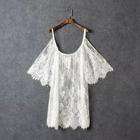 Summer See Through Strapless Lace Tops Blouse Maxi Dress [4917803908]