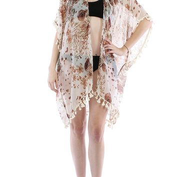 Beige Floral Print Sheer Cover Up Poncho