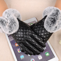 Black Faux-Leather Women's Fashion Gloves