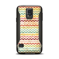 The Vintage Orange and Multi-Color Chevron Pattern V4 Samsung Galaxy S5 Otterbox Commuter Case Skin Set