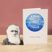 Famous Scientist Quote Card - Charles Darwin - The Value of Life. Greeting Card or Writing Set