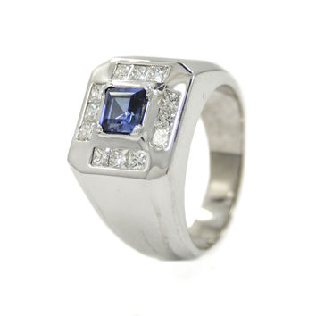 Pinky Ring 14K Gold 1.44CT Princess Cut Diamond G SI1 & Man Made Sapphire Men's