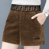 Fendi Autumn And Winter New Fashion Embroidery Letter Corduroy Women Leisure Shorts Brown