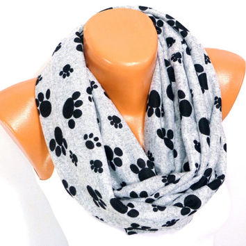 infinity Scarf, Loop Scarf, Shawl, Cat Paw Patterned, Dog paw print Scarf, Women Fashion Accessory, Gift for Valentines day, Valentines Gift