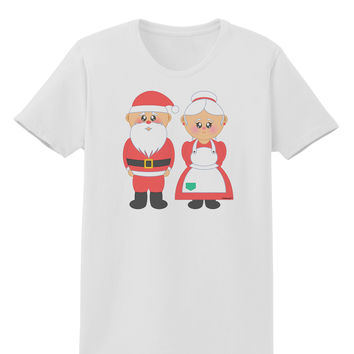 Cute Mr and Mrs Santa Claus Couple Christmas Womens T-Shirt