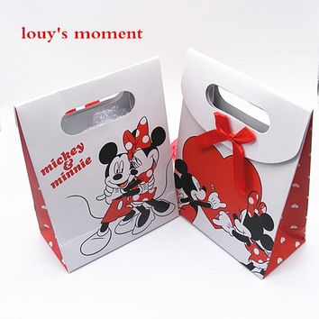 Free Shipping 6 X Minnie Mickey Gift Bag Paper Candy Box Kids Birthday Party Gift Box Wedding Deco Supply