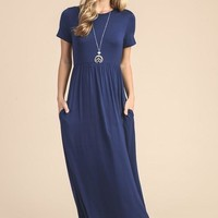 Picture Perfect Short Sleeve Maxi Dress - Navy - Pre-order Ships Tuesday 8/1