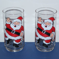 Pair of vintage jolly Santa and elves glass tumbles, Christmas glasses, holiday glasses