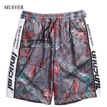 MUSVER  Realtree Camouflage Shorts Men 2018 Summer Hip Hop Side Printed Patchwork Elastic Waist Knee Length Streetwear Shorts