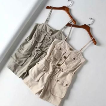 Lace-up waist strap thin shoulder strap shorts EASY fashion pocket button cotton and linen jumpsuit