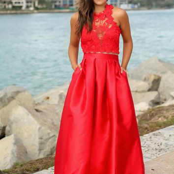 Red Maxi Dress with Crochet Top