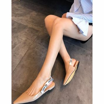 QIYIF Dior walk show high heel sandals flat shoes meat color
