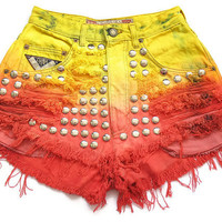 Ombre dip dye high waist shorts XXS by deathdiscolovesyou on Etsy