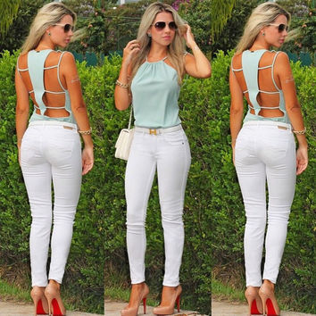 Fashion Backless Chiffon Blouse