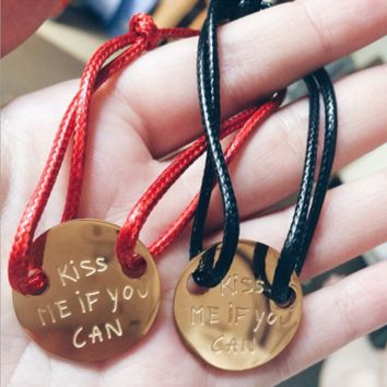 """LA MÔME BIJOU"" Fashion Jewelry ""KISS ME IF YOU CAN"" Letter Couple Chain Bracelet Hand Rope"