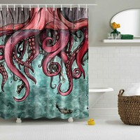 Octopus Print Shower Curtains Bath Products Bathroom Decor with Hooks Waterproof  71x71""