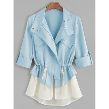 Roll Sleeve Drawstring Jacket With Contrast Trim