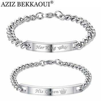 AZIZ BEKKAOUI Her King Bracelets His Queen Couple Bracelets with Crytal Stone Boyfriend Girlfriend Lover Jewelry Drop Shipping